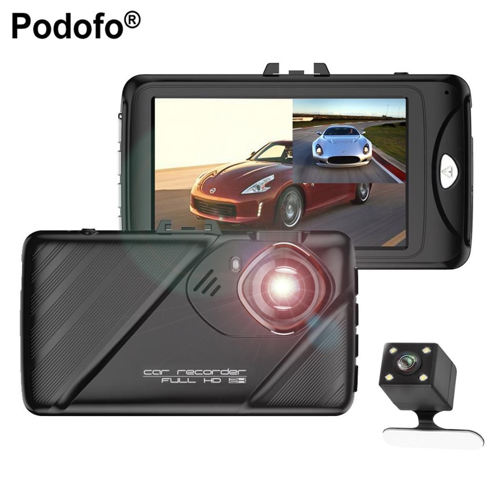 Podofo Newest  3 Dual Lens Car Dvrs Full HD 1080P Car Dvr Video Recorder Car Camera Dash Cam Support Rear View Backup Camera