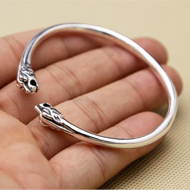 Одноцветное Серебро 925 twin-Тигр узкая полоса манжеты браслет Для мужчин Для женщин 100% 925 стерлингового Серебряные ювелирные изделия простой ...