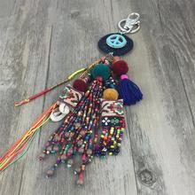 Boho Style Ethic Charms Seed Beads With Pom Pom Keychain Colorful Tassel Peach Dream cather Key Ring Pendant Jewelry