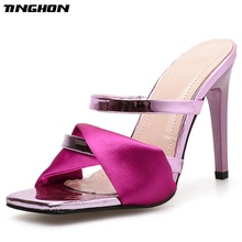 TINGHON Summer Fashion Gladiator Classic PU Ladies Slipper Thin Hight  Heel Open Toe Women Shoes Rose Red Party Dance