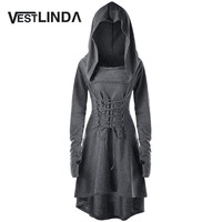 VESTLINDA Bandage Back Vestidos Costume Robe Femme Women Winter Fashion Casual Lace Up Hooded Asymmetrical High