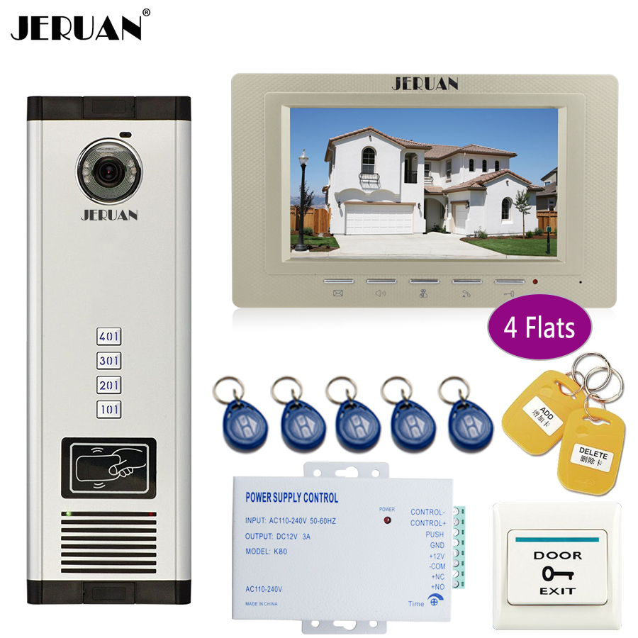 JERUAN new 7`` LCD Monitor 700TVL Camera Apartment video door phone 4 kit+Access Control Home Security Kit+free shipping