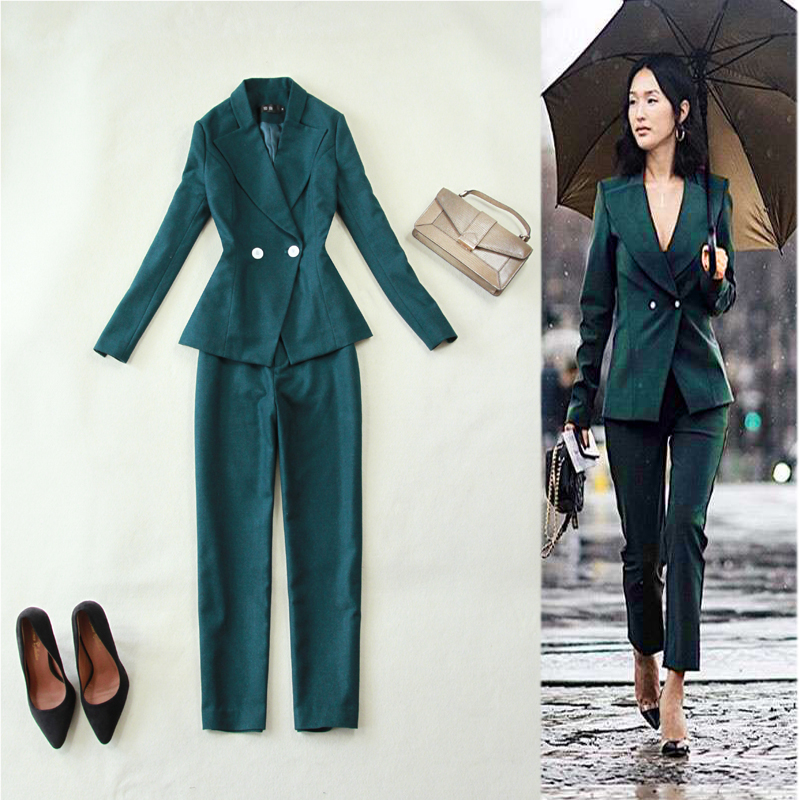 Women Clothes Women's Autumn and Winter New Slim Solid Color Wool Double-breasted Women Suit Straight Pants Suit