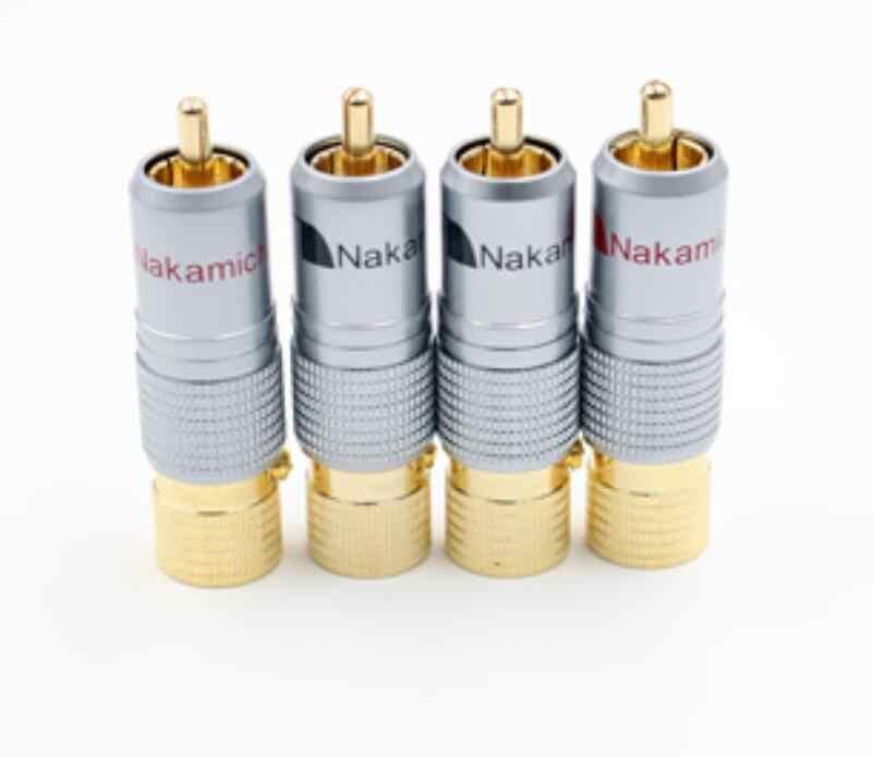 Hifi 8 stuks Nakamichi 10mm Vergulde RCA Plug Locking Non Soldeer RCA Coaxiale Connector Socket Adapter fabriek hoge Kwaliteit