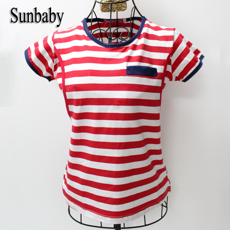 Summer Fashion Red Striped Nice Cotton Fabric Breastfeeding Clothes Short Sleeve Causal Nursing Top Clothes for pregnant women