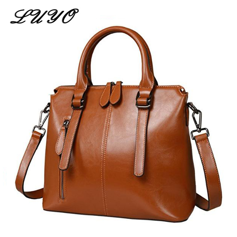 LUYO модный бренд воск масло роскошный из натуральной кожи Портфели топ-ручка сумки на плечо женские Сумки Для женщин синий Tote сумка