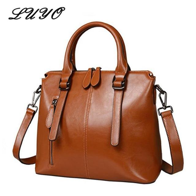 LUYO Brand Fashion Wax Oil Luxury Genuine Leather Briefcase Top-handle Shoulder  Bags Female Ladies Handbags Women Blue Tote Bag 38bda794d5f8c