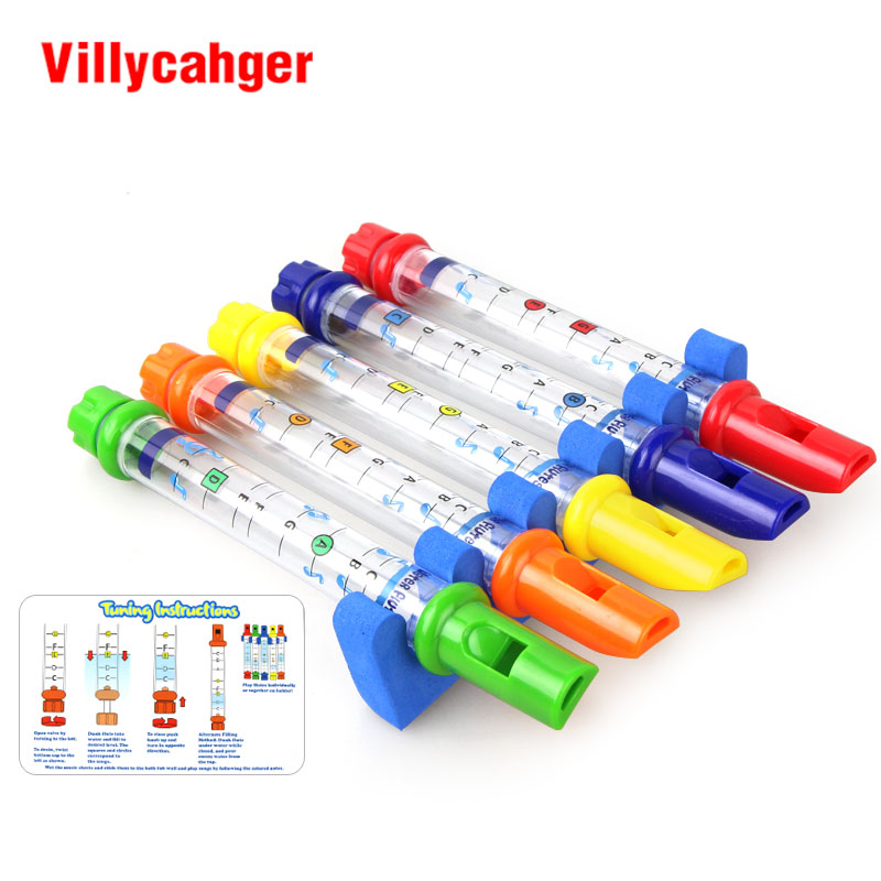 5pcs /1 Set Row New Kids Children Colorful Water Flutes Tub Tunes Toy Fun Music Sounds Toy Gift