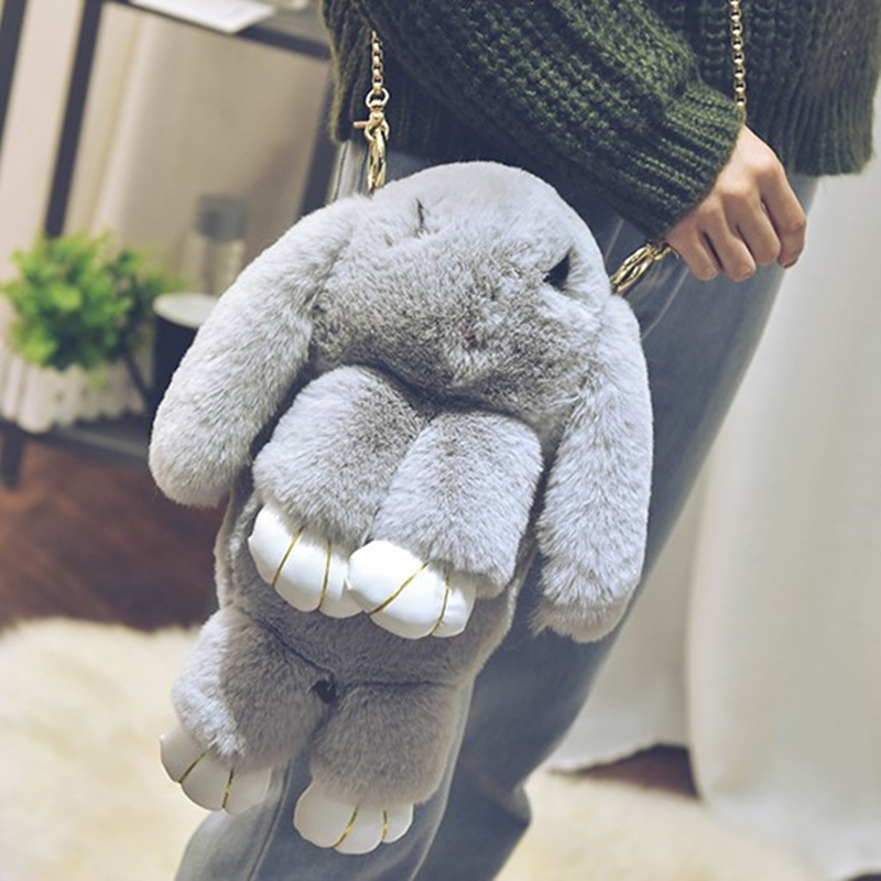 Fashion Winter Womens Bags Solid Color Faux Rabbit Fur Girls Bag Fake Fur Lady Small Shoulder Bags Messenger Bag back pack ...