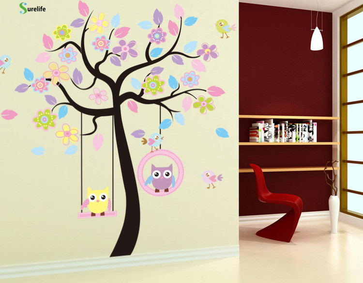 New Owl Bird Swing tree Wall Stickers Tree wall decals cartoon Home Decor for kids rooms Children Baby Nursery Rooms