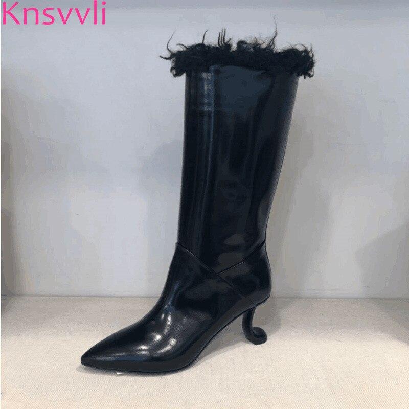 все цены на Knsvvli new strange style high heel winter boots women pointed toe genuine leather plush inside runway shoes lady mid calf boots