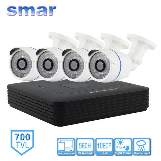 Cctv 4ch completa 960 h realtime p2p hdmi h. 264 Sistema de Video Vigilancia DVR CMOS 700TVL Impermeable Al Aire Libre IR Kit de Cámara de Seguridad