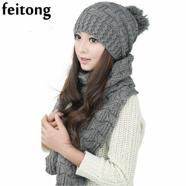 5070e5efd0b Feitong 1Set Chapeau Femme Et Echarpe Women Hat Female Winter Warm Woolen  Knit Hood Fashion Scarf