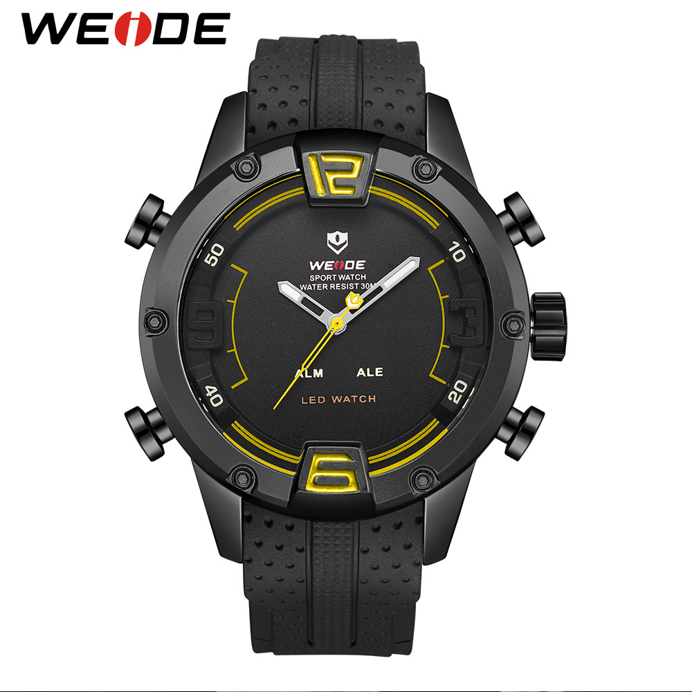 WEIDE Luxury Brand Sport Watch Casual Outdoor Waterproof LED Display Quartz Wristwatch Clock Military Relogio Masculino brand weide fashion casual men watch black silicone strap 3atm waterproof dual display wristwatch relogio masculino sale items