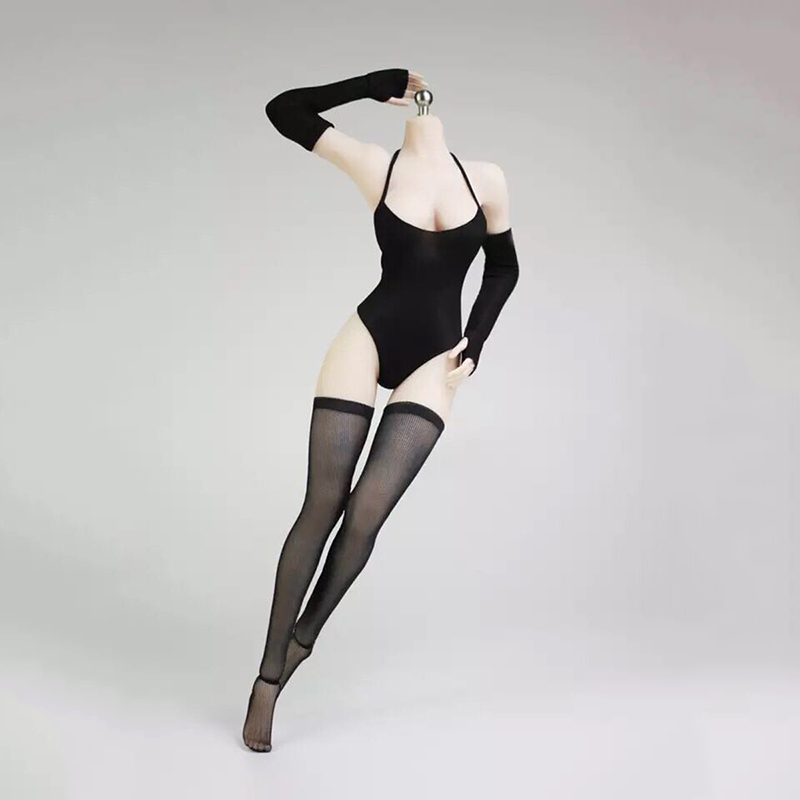 1/6 Black Swimsuit Stockings and Gloves Set Model for 12 Figures
