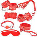 Adult Game 7-pcs whip mouth gag nipple clamps sex mask hand cuffsankle cuffs collar Sex Bondage Restraint Sex Toy for Couples