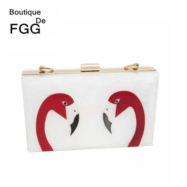 Famous Brand Flamingo Party Acrylic Clutch Bag For Women Box Evening Bags Metal Clutches Purses Wedding Bridal Chain Handbags