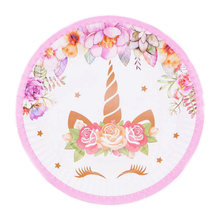 Unicorn Flower theme Party Decoration Plates&Cups&Napkins&Hat&Candy box Baby Shower Birthday Decors Kids Girl Party Supplies(China)