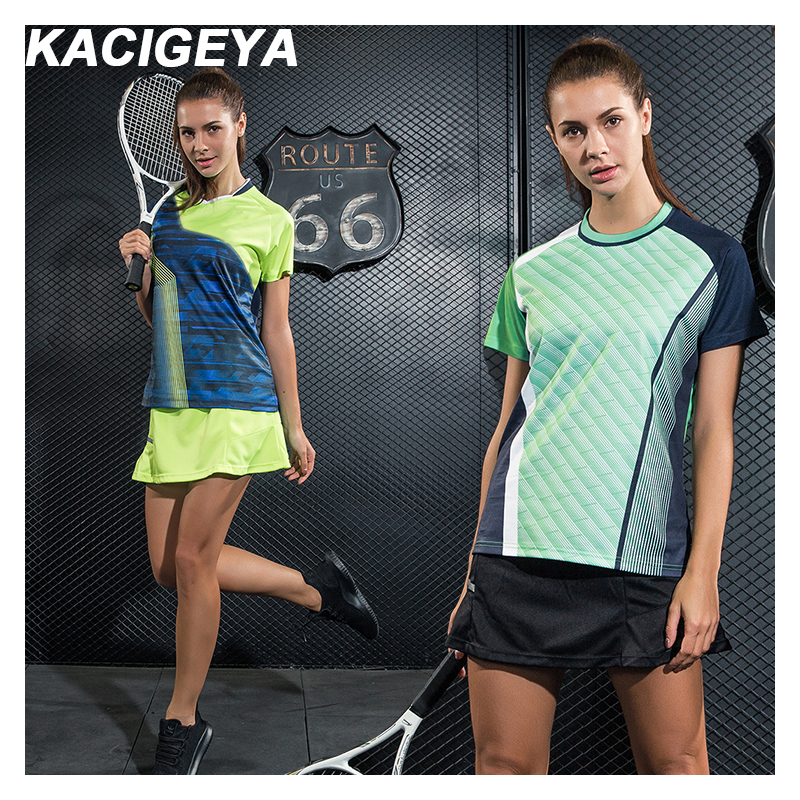 Tennis Shirt Women's Training 2019 New Golf T-Shirt Breathable Print Running Short Sleeves Quick-Drying Badminton Sportswear