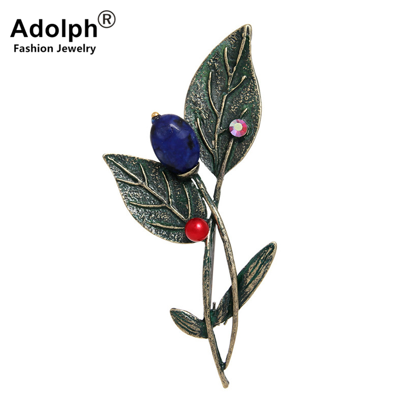 ADOLPH Star Jewelry Vintage Plant Leaf Student Brooch Pins Fashion Metal Scarf Pins Christmas Banquet Weddings Accessories New