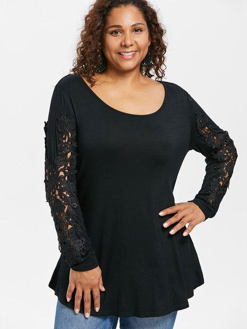 4e48bc8a25a Kenancy Plus Size Women Appliqued Cutwork Lace Long Sleeve T-Shirt Curvy  Tunic Tee Casual Female Black T Shirts Tops Big Size