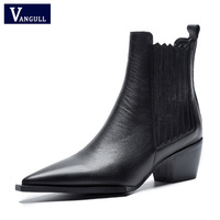 2019 Spring/Autumn New Black Ankle Boots for Women Microfiber Leather Thick High Heel 5 cm Pointed Toe Zipper Boots Women Shoes