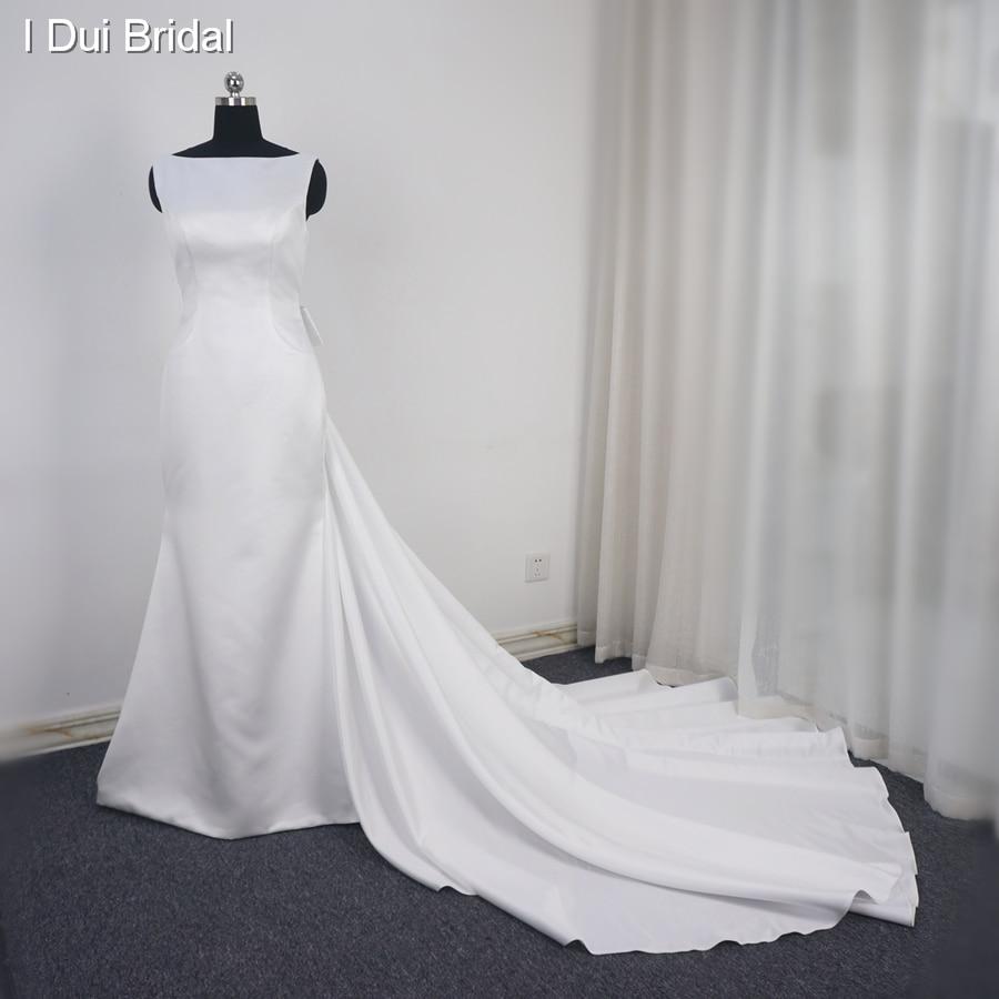 Simple Satin Sheath Wedding Dress With Detachable Long