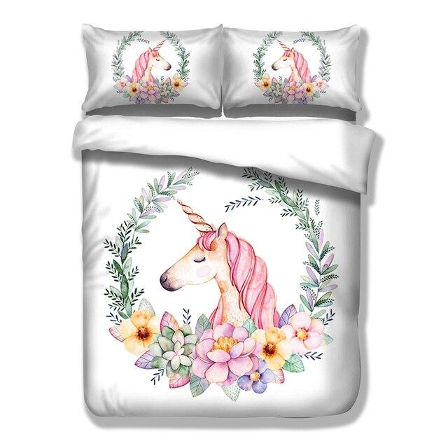 Carino Unicorno Insieme Dell'assestamento Del Fumetto Copripiumino Twin Completa Regina King Size 3 PZ Lenzuola