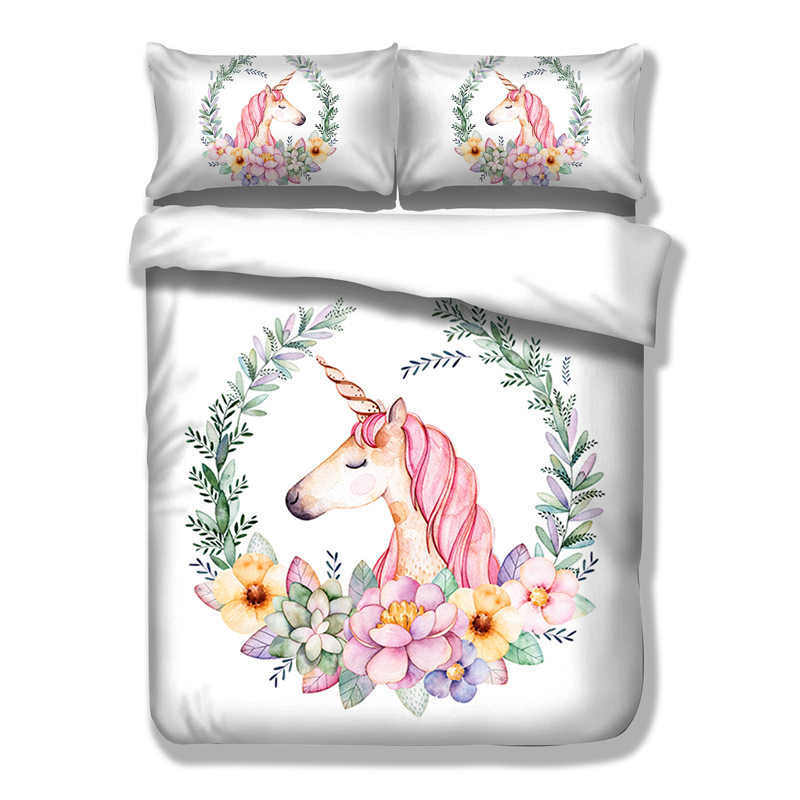 Cute Unicorn Bettwäsche Set Cartoon Bettbezug Twin Voll Königin King Size 3 STÜCKE Bettwäsche