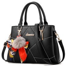 a2d4298aa Fashion Women Saffiano Handbag Designer PU Leather Female Shoulder Bags  Ladies Hairball Scarf Ornaments Messenger Crossbody