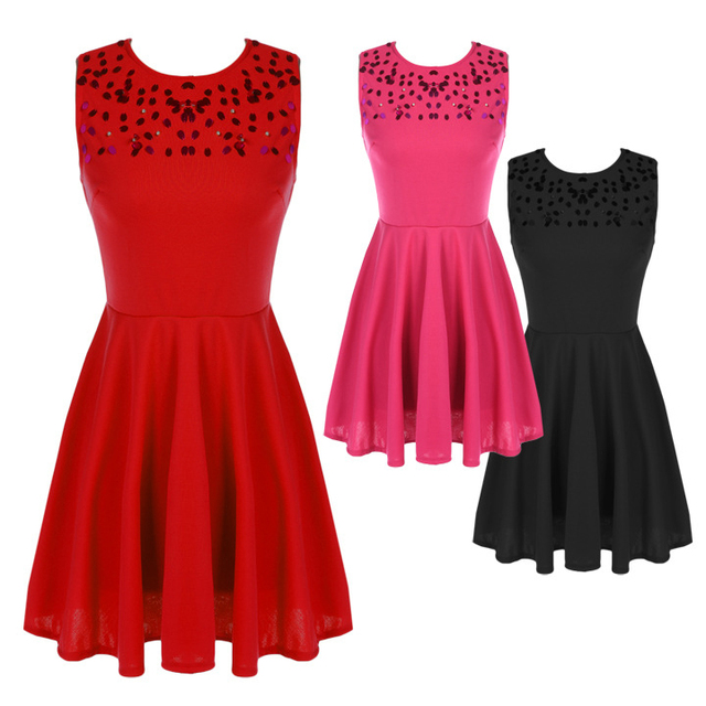 ce10625b80 Red Black Pink Women Party Dresses With Paillette Sleeveless Dress Pleated  Short Dresses Vetement Femme D164