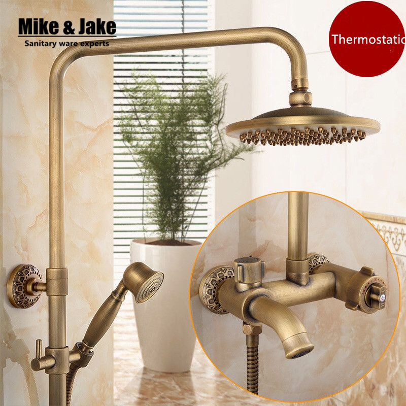 Banheiro kit de chuveiro do banheiro antigo chuveiro definir torneira misturadora termostática conjunto banho de chuveiro chuveiro de controle com botões MJ9962