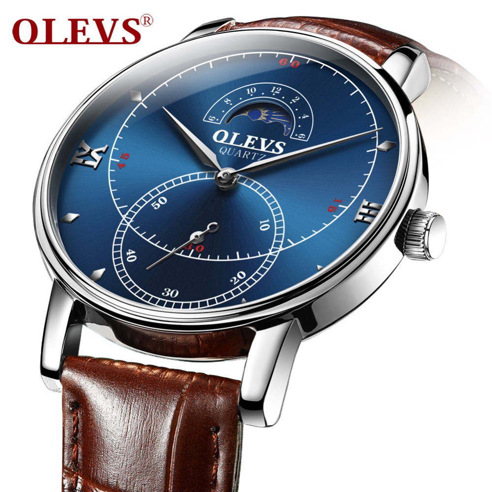 OLEVS Fashion Quartz Watches For Men Genuine Leather Mens Watch Waterproof Blue Dial Male Clock Moon Phase reloj hombre Man NEW armiforce quartz men watches fashion genuine leather chronograph watch clock for gentle men male students reloj hombre