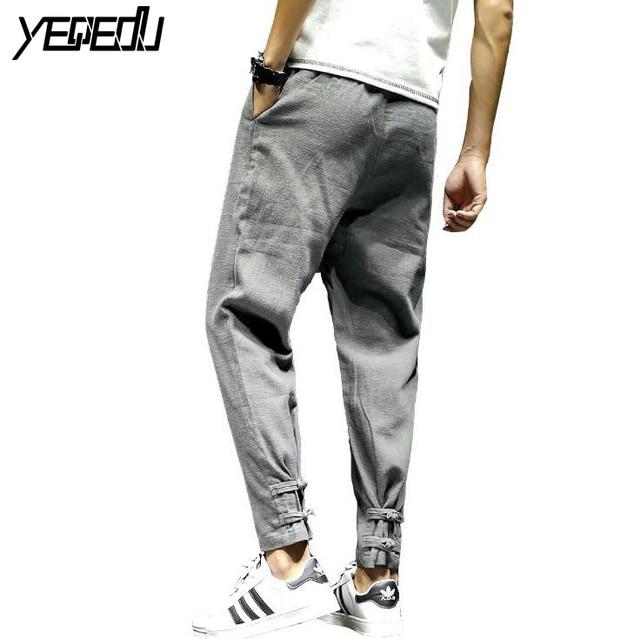 703504e5d7f  2814 2018 Men compression pants Loose Elastic waist Plus size Preppy Style  Linen cotton Joggers