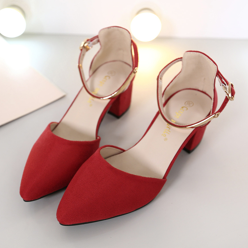 2016 New Korean Style Women Sudue Pointed Toe Shoes Spring Summer Fashion Sexy Ladies High Heels Casual Shoes Free Shipping H009 new 2017 spring summer women shoes pointed toe high quality brand fashion womens flats ladies plus size 41 sweet flock t179