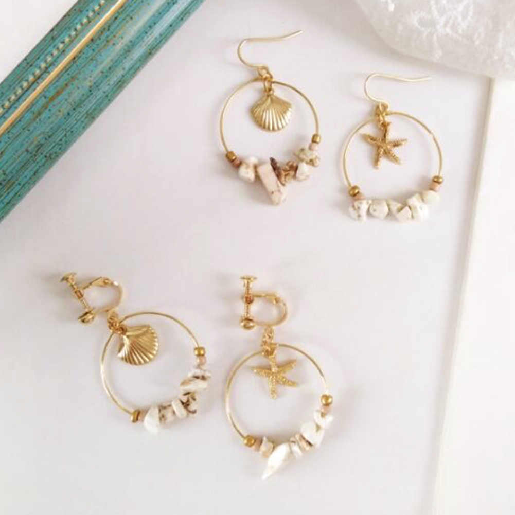 Vintage Gold Alloy Sea Shell Starfish Dangle Errings For Women Round Circle With Stone Beads Earrings Summer Jewelry