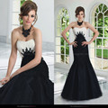2017 Fashion Strapless Evening Appliqued Mermaid Black And White Long Floor Length Mother of the Bride Groom Dresses UM880