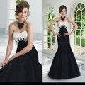 2017 Moda Strapless Appliqued Da Sereia vestido de Noite Preto E Branco Longo Até o Chão Mãe da Noiva do Noivo Vestidos UM880