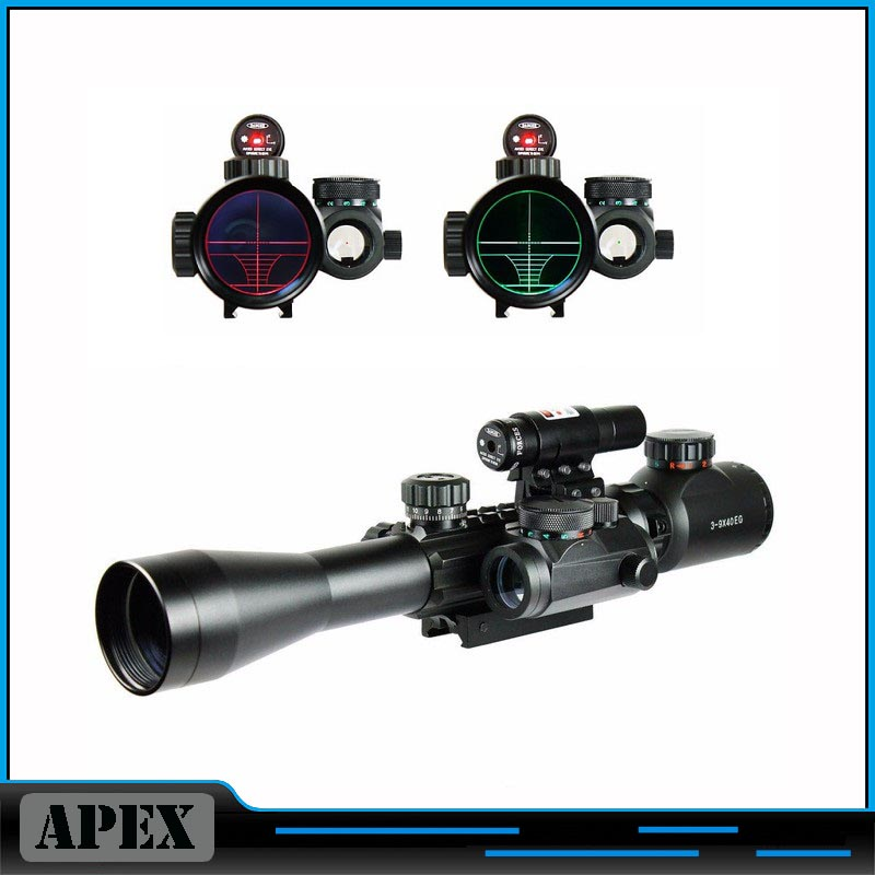Optics 3-9X40 Illuminated Hunting Red Laser Riflescope with Holographic Dot Sight Combo Airsoft Gun Weapon Sight Chasse Caza 1set riflescope hunting optics rifle 3 9x40 illuminated red green laser riflescope w holographic dot sight airsoft weapon sight