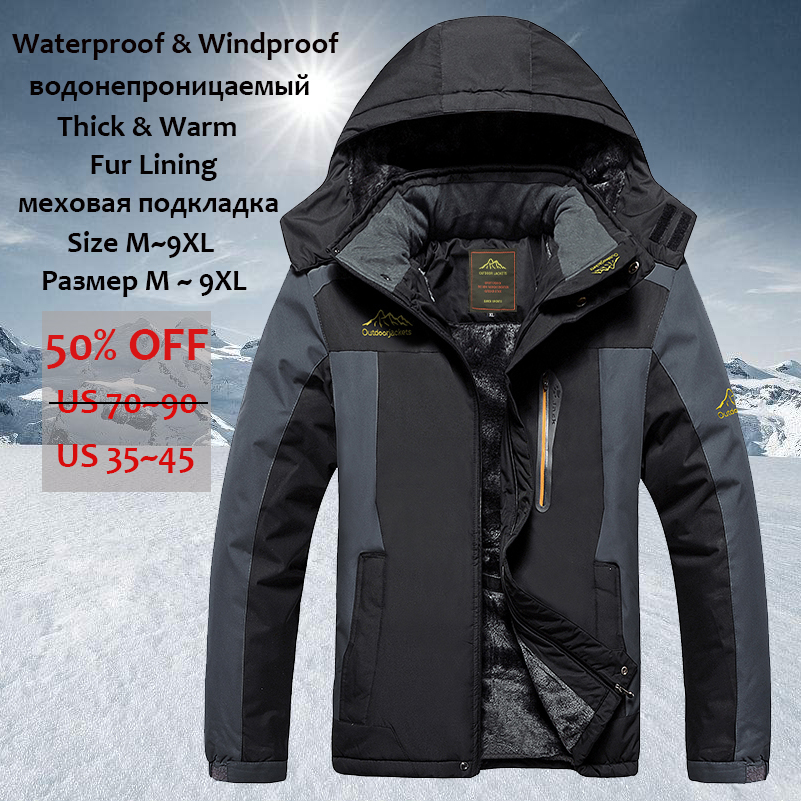 YIHUAHOO Winter Jacket Men 8XL 9XL Thick Warm   Parka   Coat Casual Hooded Fleece Fur Windproof Waterproof Jackets Windbreaker Men
