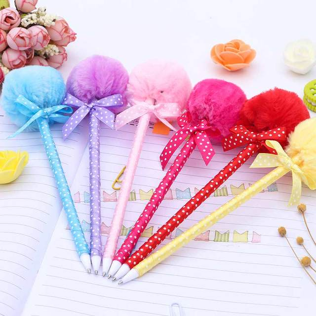 TOMTOS 1PcsStudent Prizes Creative Promotional Pens, Balls Plush Ballpoint Pen, Cute Ball-Point Pens School Supplies 2