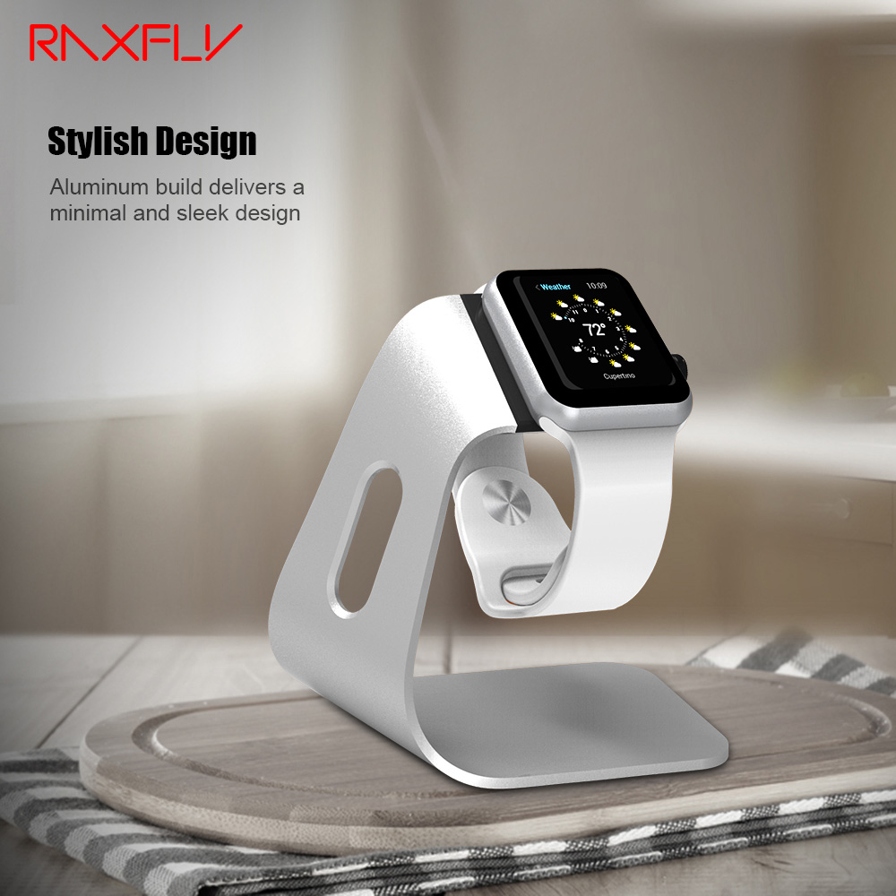 RAXFLY Watch Cradle Stand Adapter Charging For IWatch Smartwatch Luxury Aluminum Metal Minimalist Desktop Charger Dock Station