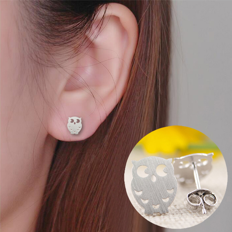 New Style Fashion Small Origami Owl Stud Earrings For Women Cute