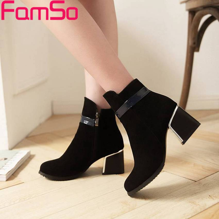 Plus Size34 42 2016 New Sexy font b Women b font Boots Black Thick Heels Platforms
