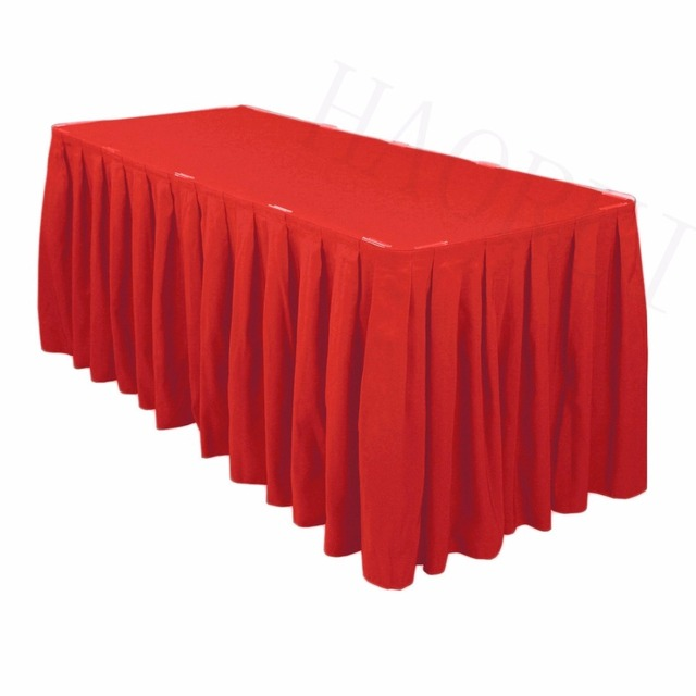 17ft X29 Red 5pcs Polyester DIY Table Skirt For Outdoor Wedding Party Dining Setting