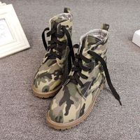 2016 Camouflage Canvas Women Martin Boots Round Toe Flat Autumn Spring Women Shoes Casual Lacing Women