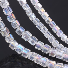 OlingArt Square 3/4/6/8MM Austria Crystal Beads charm Glass White AB color Loose Spacer Bead for DIY Jewelry Making