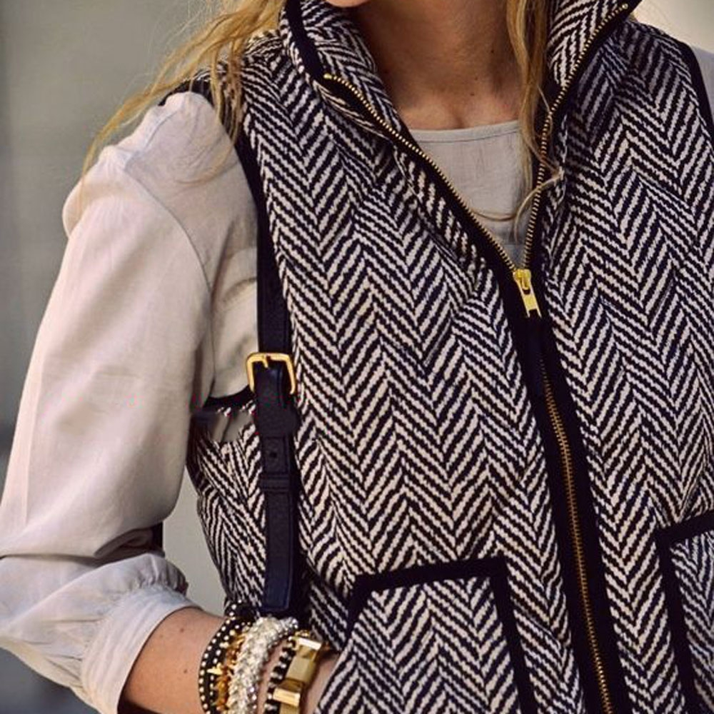 VESTLINDA Vest Women Winter Casual Jacket Vest Coat Veste Femme Striped Hooded Waistcoat Fashion Zipper Short Vest Plus Size 4