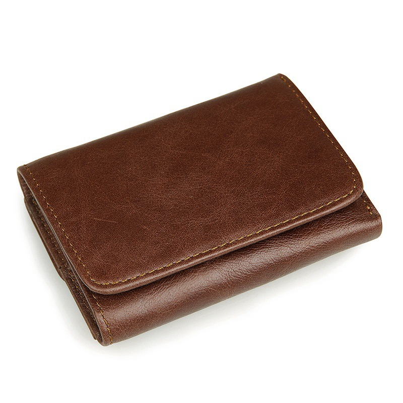 Nesitu Vintage Short Size Brown Color Real Skin Genuine Leather Men Wallets Cowhide Purse For Men With Coin Pocket #M8106