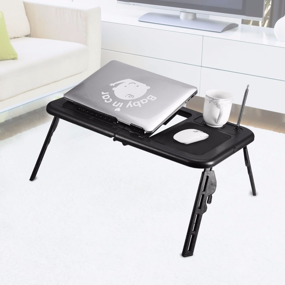 Adjustable Laptop Desk Foldable Table e-Table Bed with USB Cooling Fans Stand ...